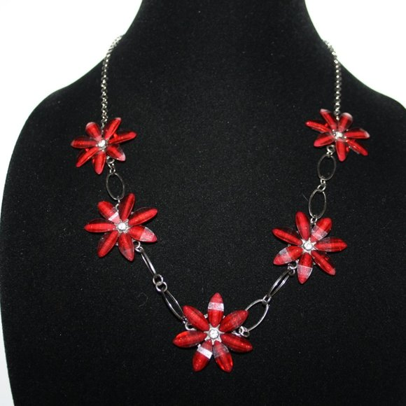 """Gun metal black and red flower necklace 30"""""""
